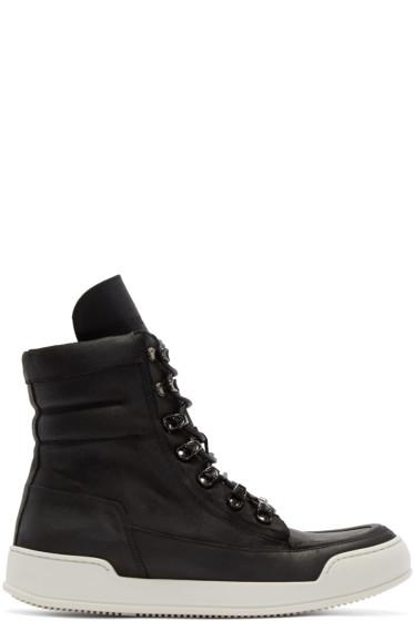 Balmain - Black Leather High-Top Sneakers