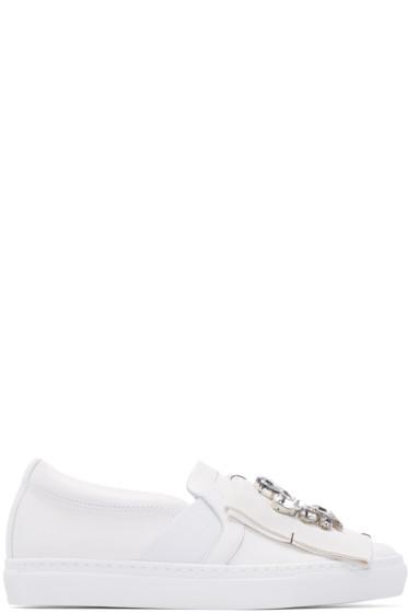 Lanvin - White Embellished Slip-On Sneakers
