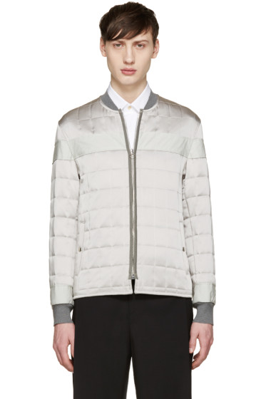 Lanvin - Silver Quilted Satin Bomber Jacket