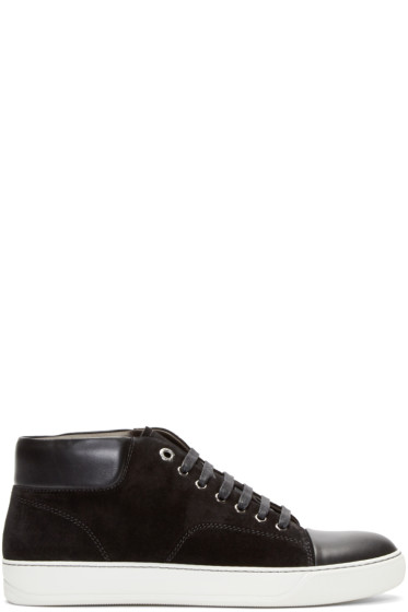 Lanvin - Black Leather & Suede Mid-Top Sneakers