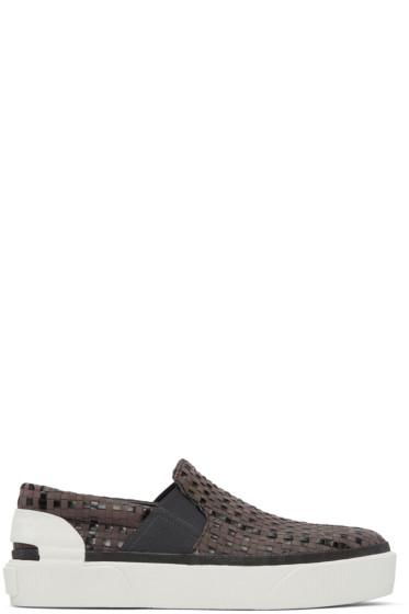Lanvin - Grey Suede Woven Slip-On Sneakers