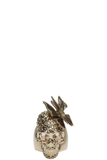 Alexander McQueen - Gold Butterfly Skull Ring