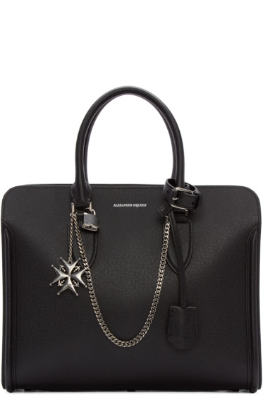 Alexander McQueen - Black Leather Jewel Cross Heroine Tote