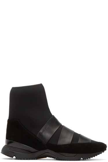 Damir Doma - Black Neoprene Flash High-Top Sneakers