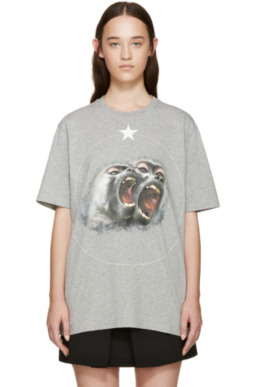 Givenchy - Grey Angry Brother Monkey T-Shirt