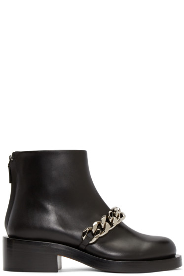 Givenchy - Black Curb Chain Ankle Boots