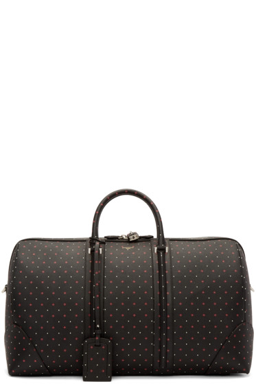 Givenchy - Black Leather Jacquard Duffle Bag