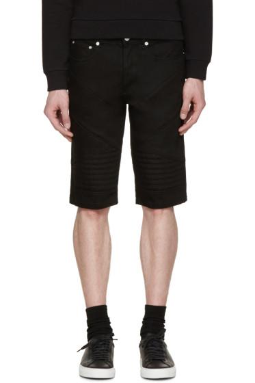 Givenchy - Black Biker Denim Shorts