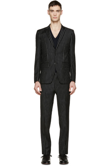 Givenchy - Black & White Wool Pinstriped Suit