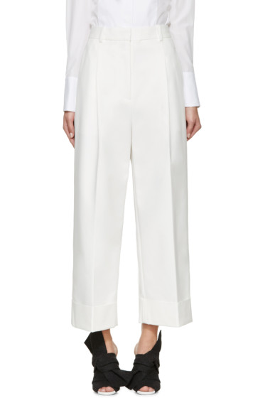 3.1 Phillip Lim - White Cropped Wide-Leg Trousers
