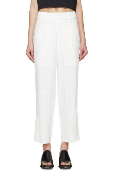 Chloé - White Cady Straight-Leg Trousers
