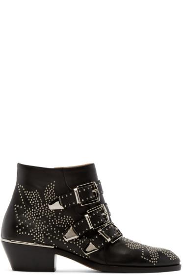 Chloé - Black & Silver Studded Susanna Boots