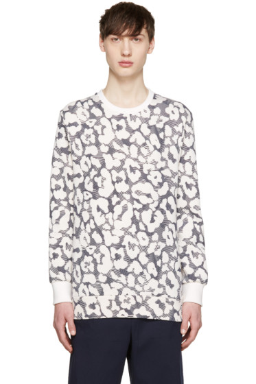 Neil Barrett - Off-White & Navy Neoprene Leopard Pullover