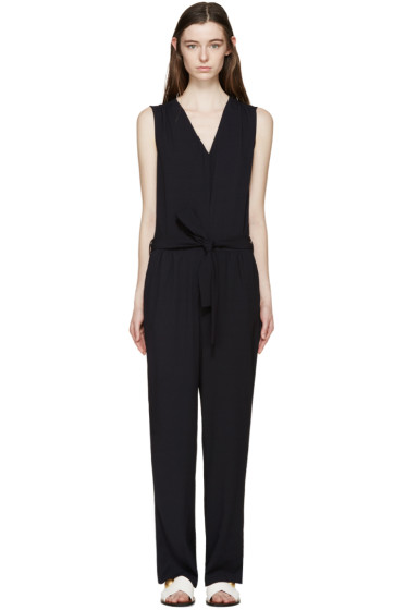 See by Chloé - Navy Crepe Belted Jumpsuit