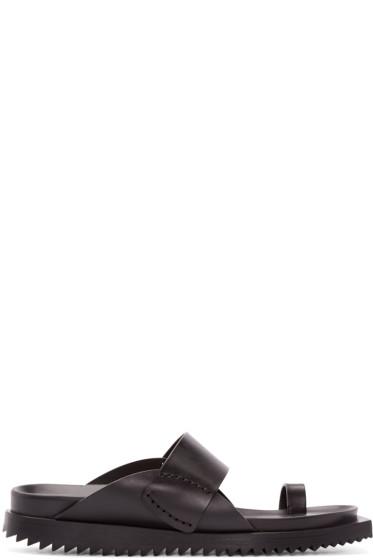 Ann Demeulemeester - Black Leather Slip-On Sandals