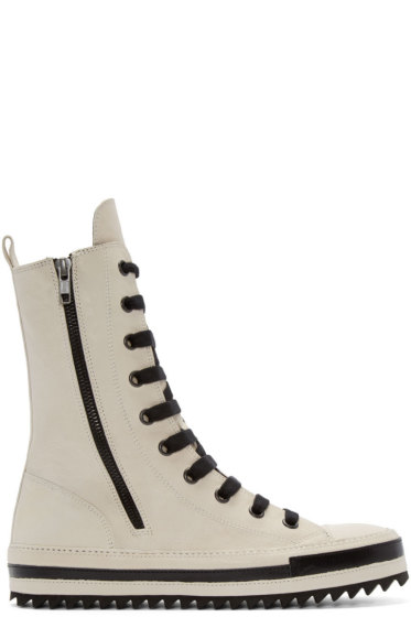 Ann Demeulemeester - Ivory Leather High-Top Sneakers