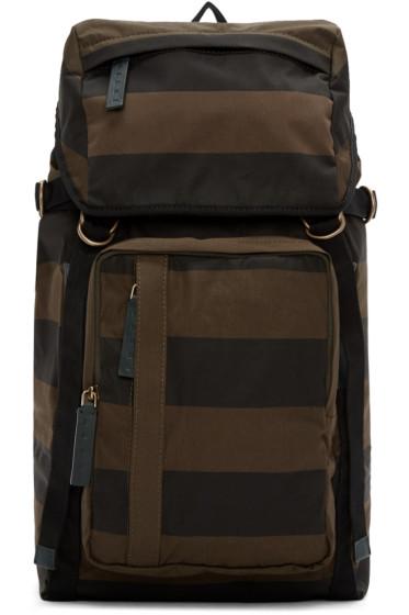 Marni - Green & Black Striped Backpack