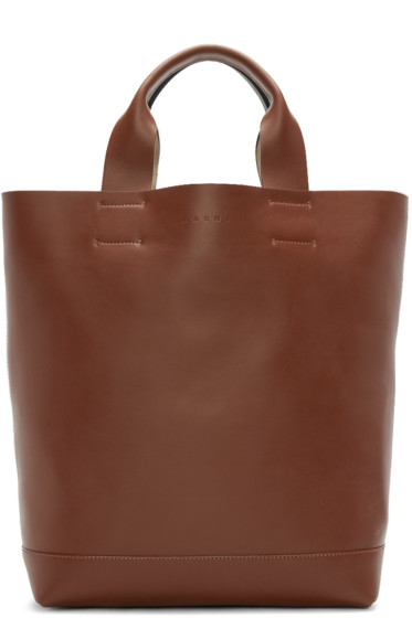 Marni - Brown & Green Leather Tote