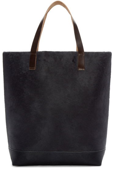 Marni - Navy Calf Hair Shopper Tote