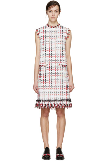 Thom Browne - Tricolor Check Frayed Dress