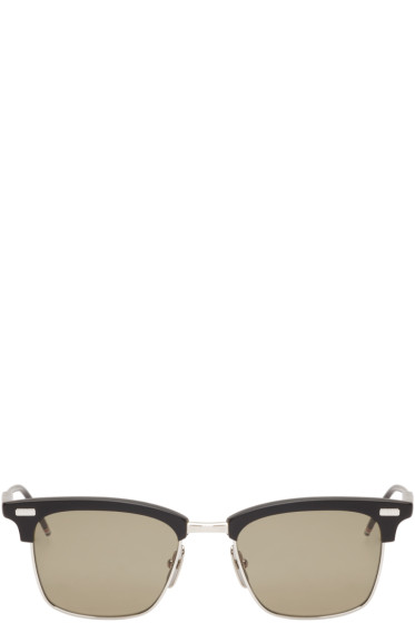 Thom Browne - Black and Silver Matte Sunglasses