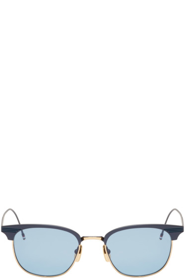 Thom Browne - Navy & 18K Gold Matte Sunglasses