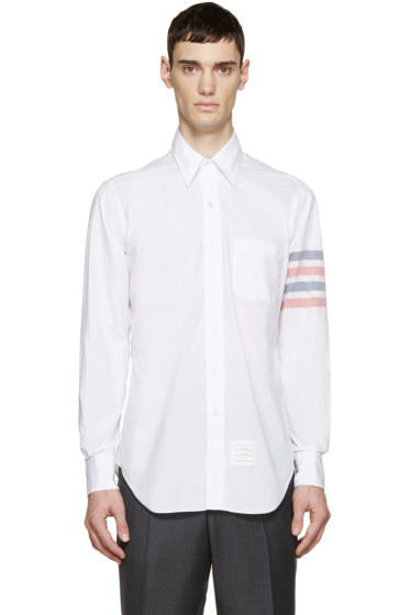 Thom Browne - White Poplin Striped Armband Shirt
