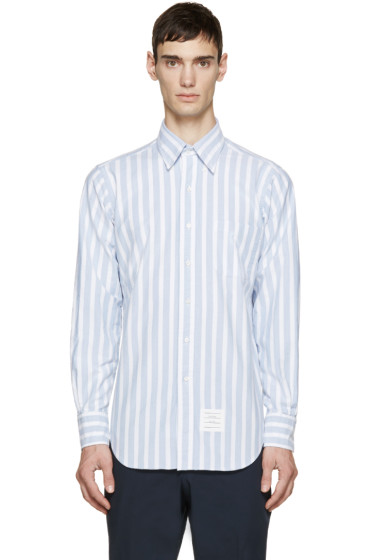 Thom Browne - White & Blue Striped Shirt