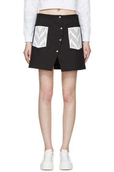 Kenzo - Black Lazer-Cut Pockets Skirt