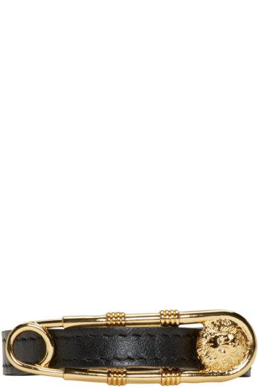 Versus - Black & Gold Safety Pin Bracelet