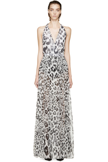 Versus - White Lion & Leopard Halter Anthony Vaccarello Edition Dress