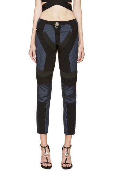 Versus - Blue & Black Multi-Fabric Anthony Vaccarello Edition Trousers