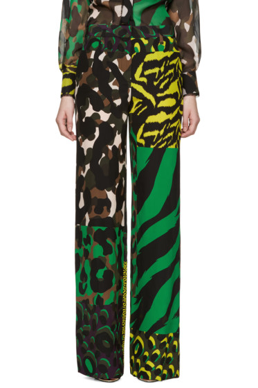 Versace - Multicolor Silk Wild Trousers