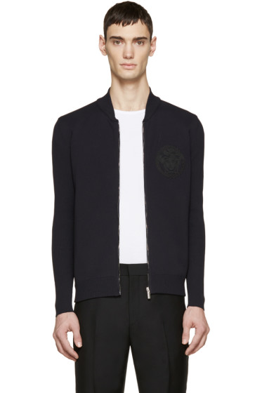 Versace - Navy Medusa Zip-Up Sweater