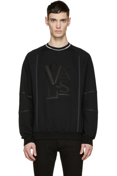 Versace - Black Leather Logo Pullover