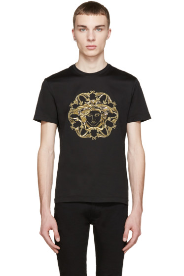 Versace - Black & Gold Embroidered Medusa T-Shirt