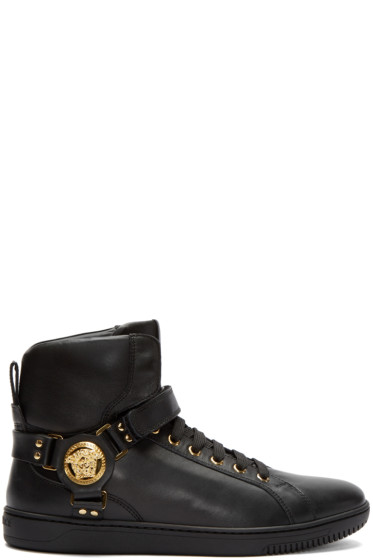 Versace - Black Harness High-Top Sneakers