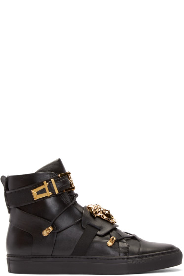 Versace - Black Straps High-Top Sneakers