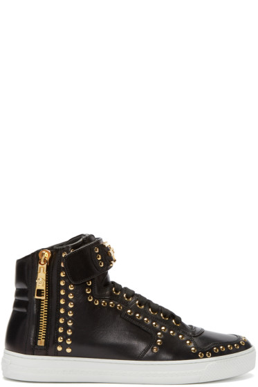 Versace - Black Studded High-Top Sneakers