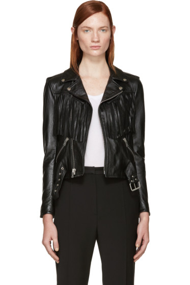 Saint Laurent - Black Leather Fringed Biker Jacket