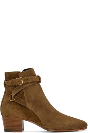 Saint Laurent - Tan Suede Jodhpur Ankle Boots