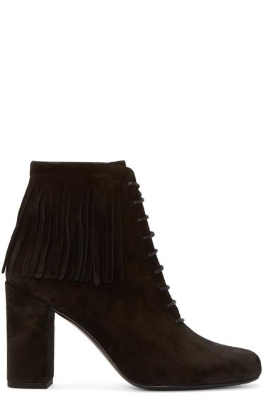 Saint Laurent - Black Suede Fringed Babies Boots