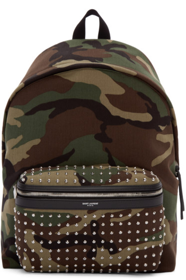 Saint Laurent - Green & Brown Canvas Camouflage Backpack