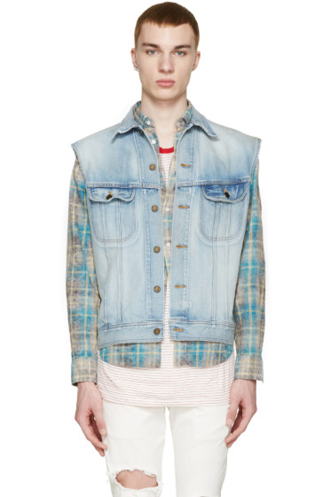Saint Laurent - Blue Denim Distressed Vest