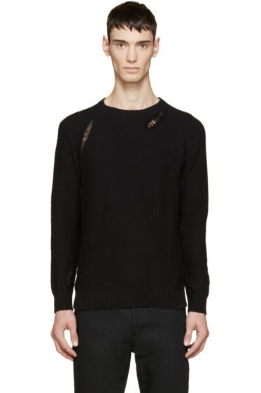 Saint Laurent - Black Distressed Grunge Sweater