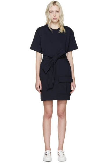 MSGM - Navy Belted Pullover Dress