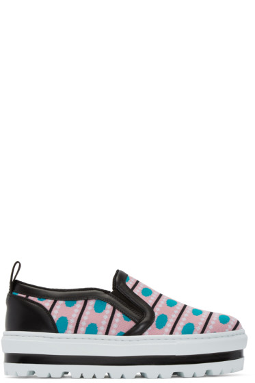 MSGM - Multicolor Patterned Platform Slip-On Sneakers
