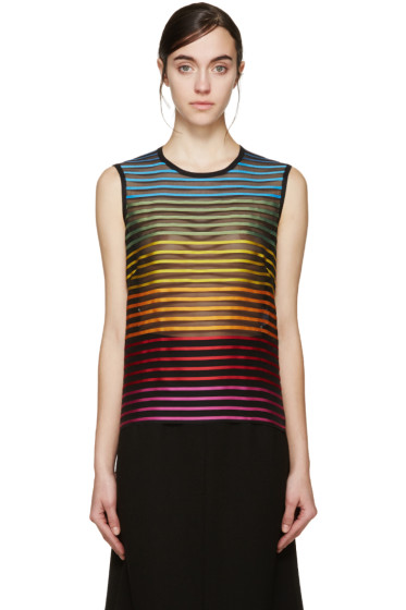 Mary Katrantzou - Black Rainbow Stripe Tank Top