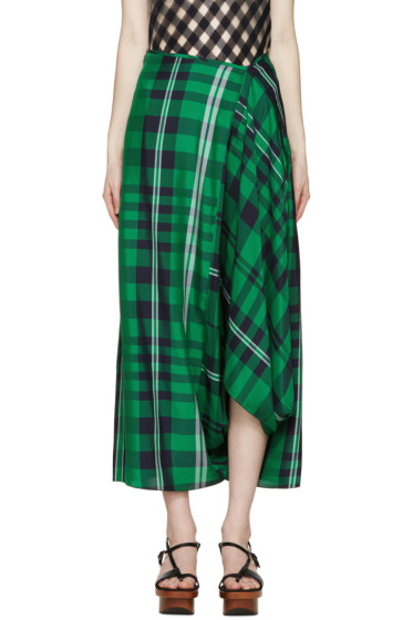 Stella McCartney - Green Draped Check Trousers
