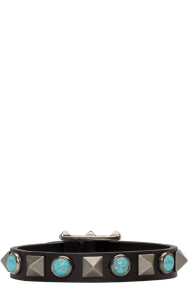 Valentino - Black Leather Stone & Rockstud Bracelet